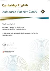 Certyfikat Platynowego centrum egzaminacyjnego Cambridge English Lang LTC