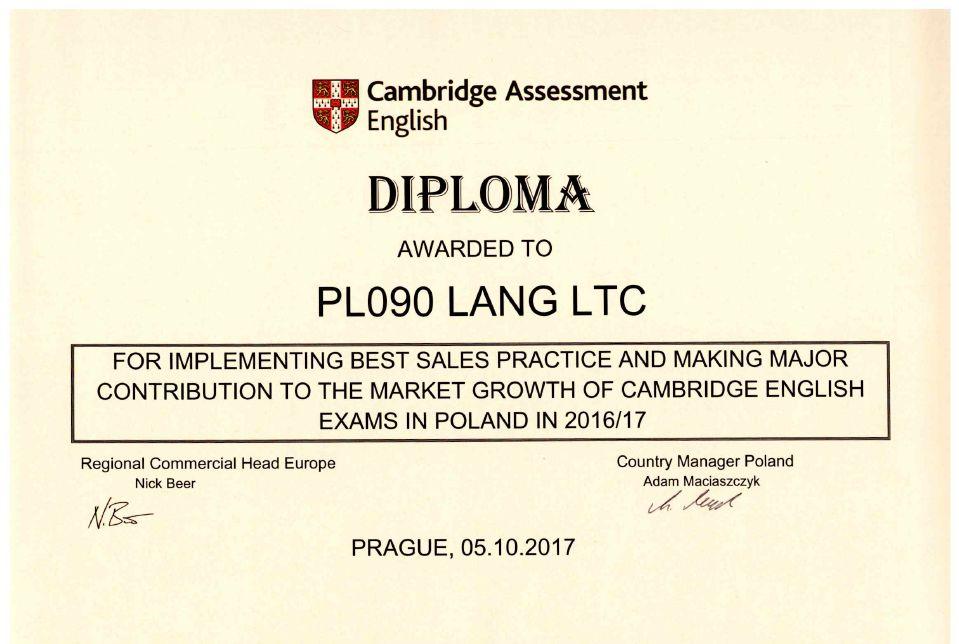 Dyplom dla Centrum Egzaminacyjnego Cambridge English Lang Ltc